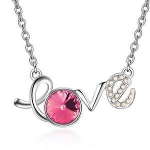 Love Pendant Necklace Silver Tone Pink Rhinestone